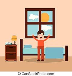morgon, sovrum, tecknad film, tecken, vakna upp, sträckande