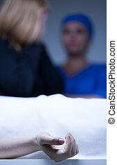 morgue, cadavre, identification