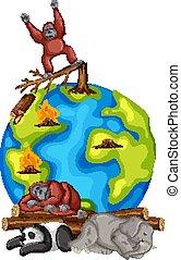 moribondo, animali, terra