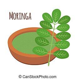 moringa, ハーブ, nutrition., 木, 菜食主義者, 健康, 野菜, superfood., 粉, flowerpot.
