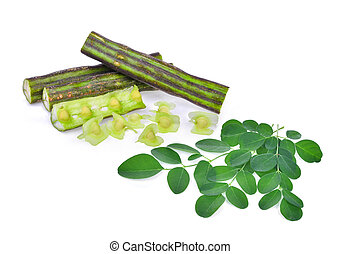Moringa pod and leaves isolate on white background