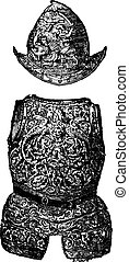 morion, 世紀, engraving., 型, よろいかぶと, 16番目