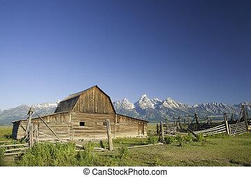 mormón, wyoming, viejo, tetons, granero