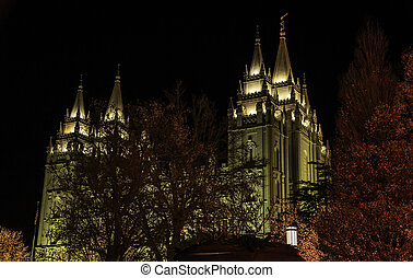 A scene from Temple Square in Salt Lake city at night during Christmas.