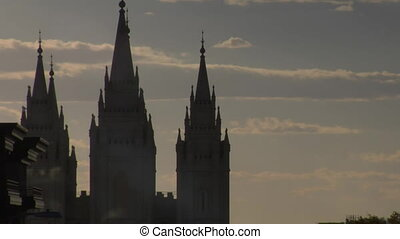 Mormon Temple spires Salt Lake City