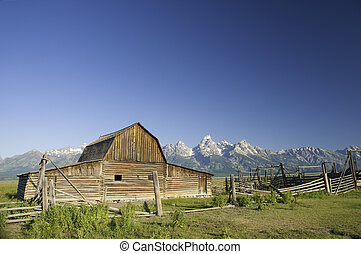 mormon, wyoming, gammal, tetons, ladugård