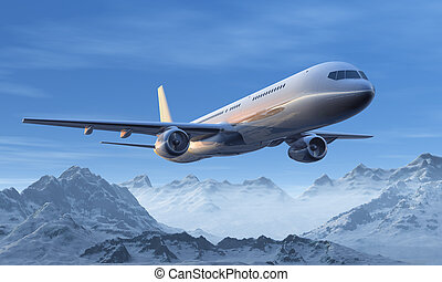 Morning airliner flight over the snowy mountain peaks -...
