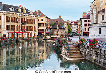Morning view of Annecy and Palais de l'Isle in september. GPS information is in the file