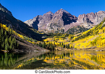Morning at Maroon Bells Aspen CO - Maroon Bells mountain...