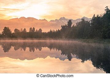 Morning at Matheson natural water lake