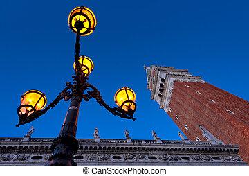 Morning at San Marco square. Campanile San Marco, Biblioteca...