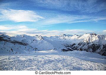 Morning at the ski resort Ischgl. A