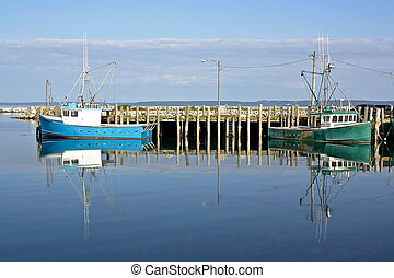 morning at the wharf - fishing boats off the wharf at White...