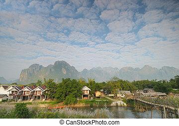 Morning at Vang Vieng, Laos near many guest house.