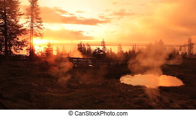 Morning at West Thumb, Yellowstone - West Thumb Geyser Basin...