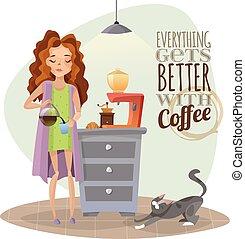 Morning Awakening With Cup Of Coffee - Morning awakening...