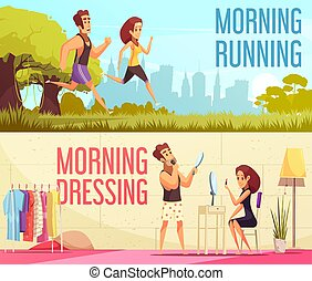 Morning Banners Set - Cartoon horizontal banners set with...