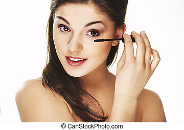 Morning Beauty Routine - Pretty woman applying make up