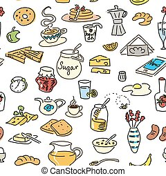 Morning breakfast doodle. colored sketch. seamless pattern set