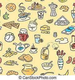 Morning breakfast doodle colored vector seamless pattern.