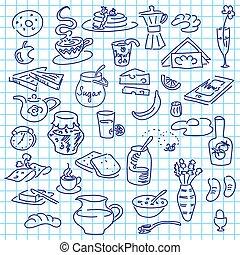 Morning breakfast doodle on note paper. sketch