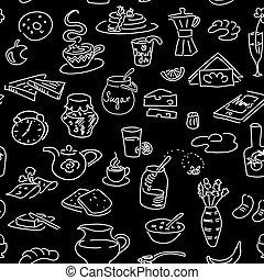 Morning breakfast doodle seamless pattern on black. Chalk board style. sketch
