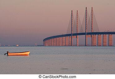 The bridge between Denmark and Sweden, Oresundsbron, in morning light