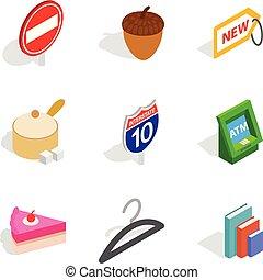 Morning business icons set, isometric style - Morning...