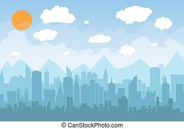 Morning city skyline.