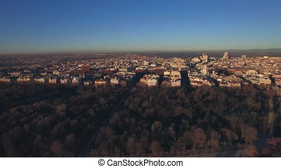 Morning cityscape of Madrid in winter, aerial - Aerial -...