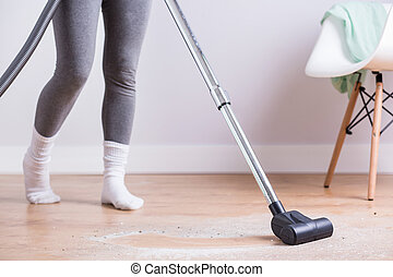 Morning cleaning the house