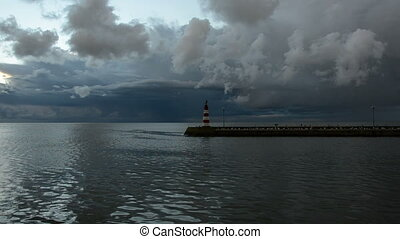 morning clouds and lighthouse