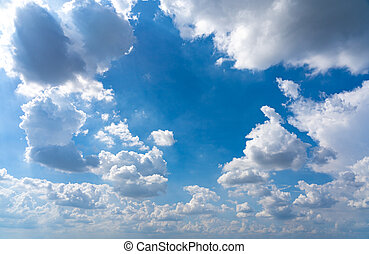 Morning cloudscape with white clouds on blue sky and natural daylight