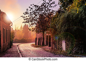 morning cobbled street in old town - morning old town curvy...