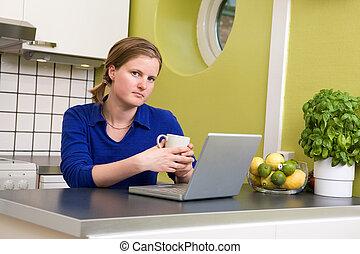 Morning Coffee at Computer