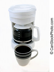 On white morning coffee maker routine