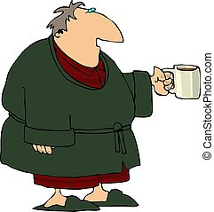 This illustration depicts a man wearing a robe and carrying a cup of coffee.