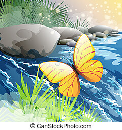 Illustration with flying butterfly against the forest creek in the morning hours