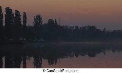 Morning dawn fog smoke - Morning mist flows over marsh...