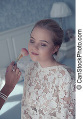 Morning dress bride - Beautiful bride with hairstyle and ...