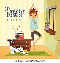 Morning Exercises Cartoon Composition - Morning awakening...