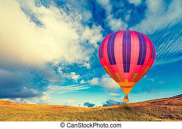 Morning flight of the hot air balloon