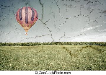 Morning flight of the hot air balloon.