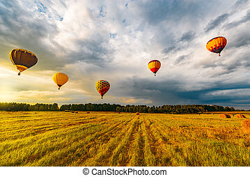 Morning flight of the hot air balloons.