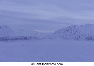Morning fog at Alaskan lake