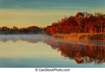 morning fog at lake plansee with colorful autumn trees