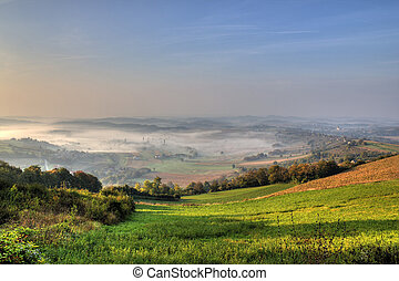 Morning fog in green valley, Kalnik, Croatia