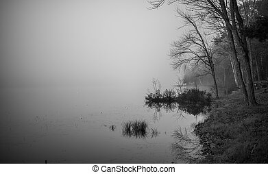 Morning fog on a lake in Ontario.