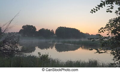 Morning fog on a quiet lake - Morning fog on a quiet...