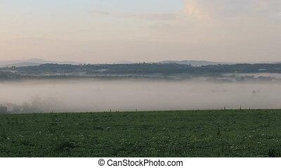 Morning fog on Czech landscape